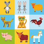 scrap card with animals, seamless pattern. Vector