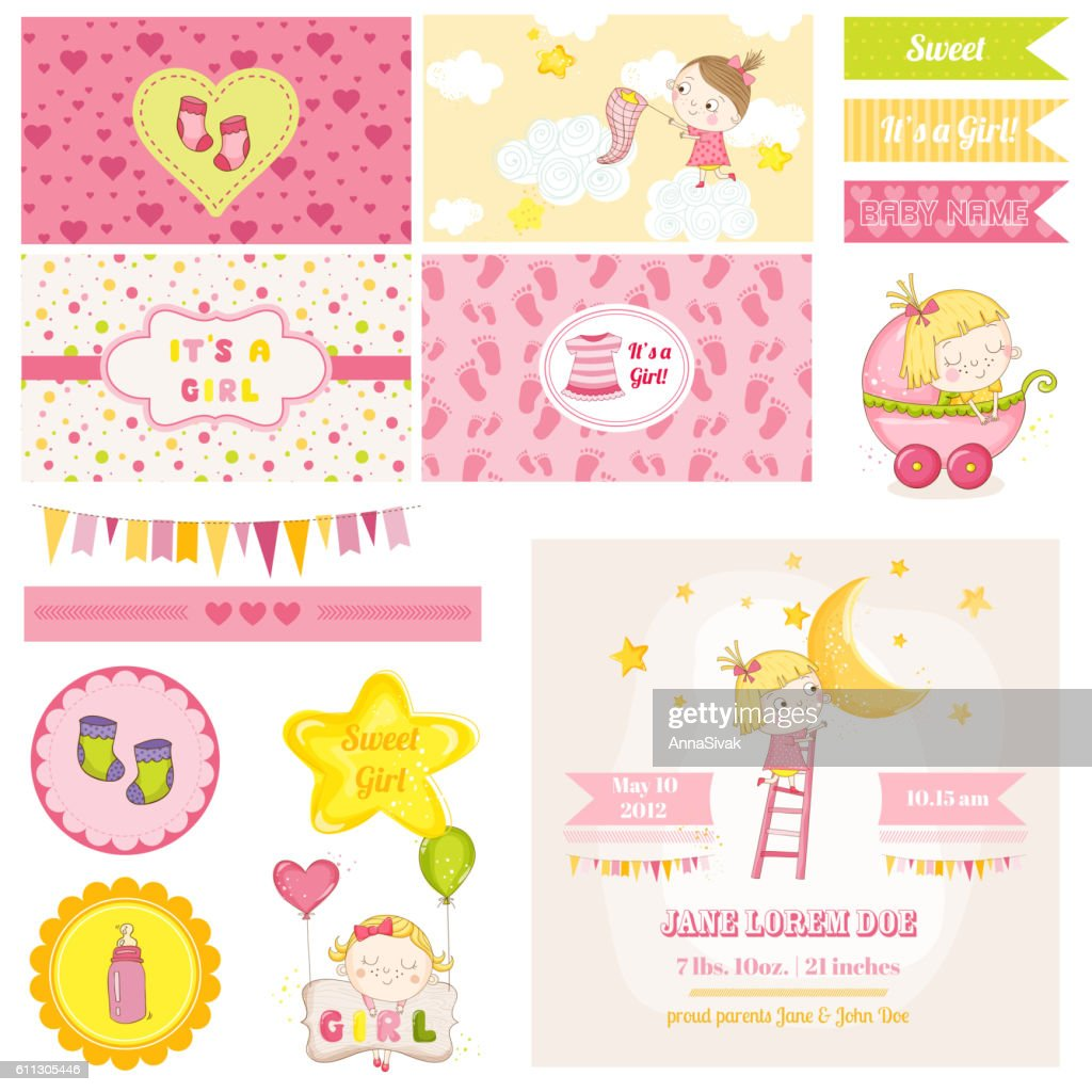 Scrapbook Design Elements - Baby Girl Shower Theme