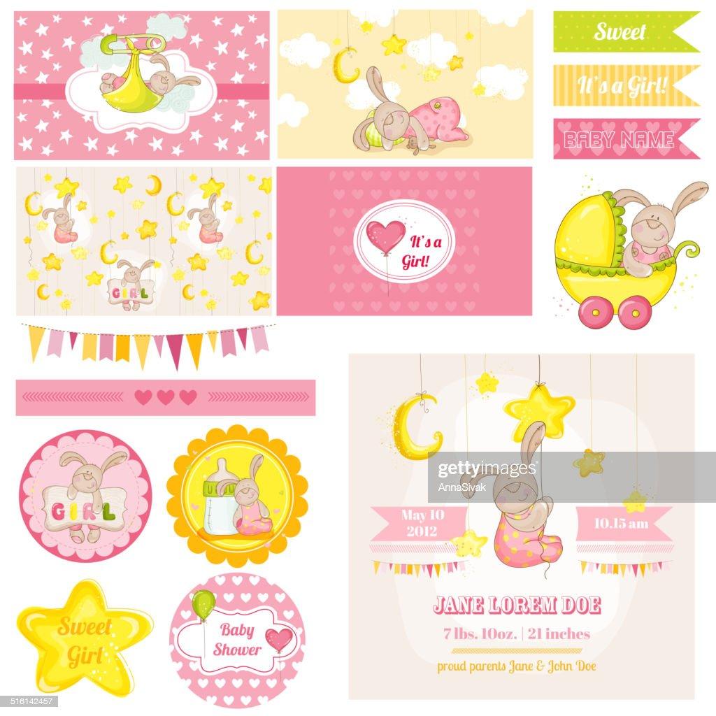 Scrapbook Design Elements - Baby Shower Bunny Theme