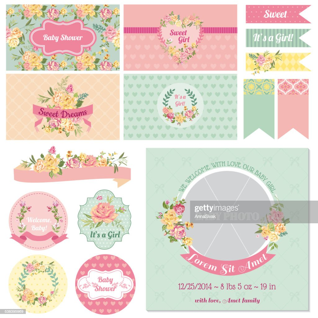 Scrapbook Design Elements - Baby Shower Flower Theme