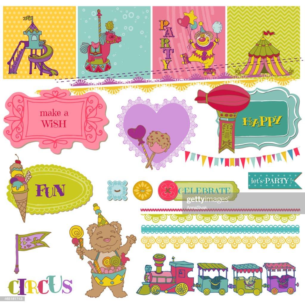Scrapbook Design Elements - Birthday Party Child Set