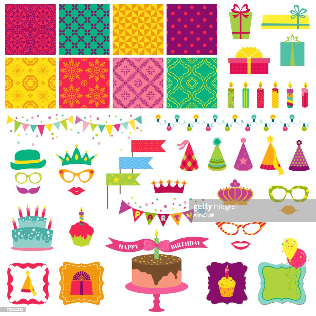 Scrapbook Design Elements - Happy Birthday and Party Set