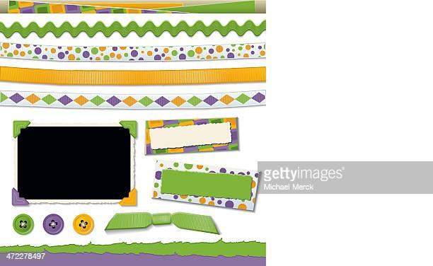 stockillustraties, clipart, cartoons en iconen met scrapbook design elements - gekarteld