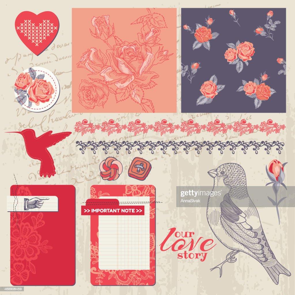 Scrapbook Design Elements - Vintage Roses and Birds