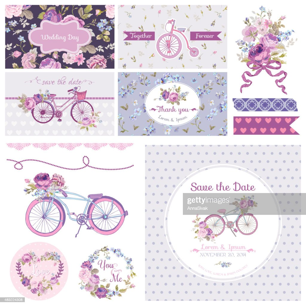 Scrapbook Design Elements - Wedding Party Flowers and Bicycle Theme
