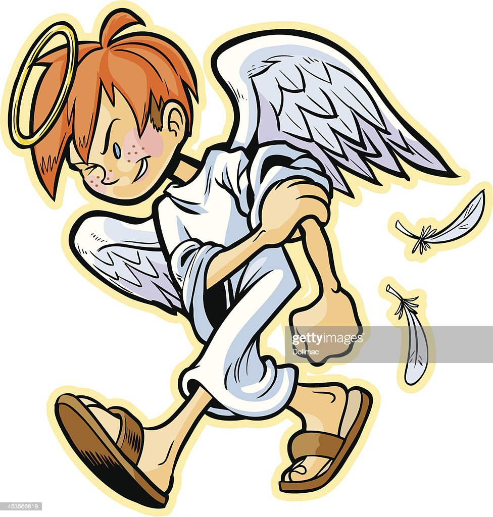scrappy angel with red hair vector cartoon