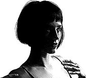 Scratchboard style Illustration Of A Cute Young Woman