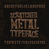 Scratched metal typeface. Retro alphabet font. Metalic letters and numbers.