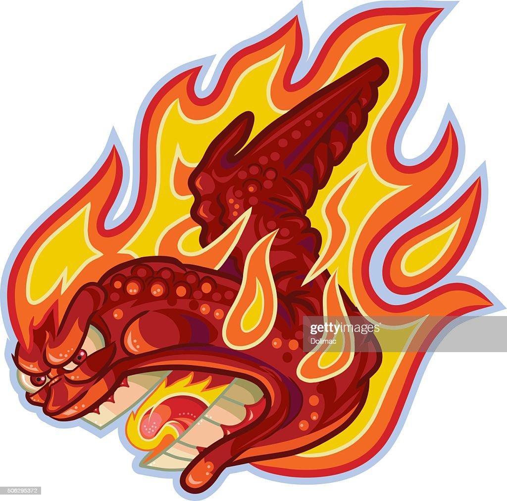 Screaming Buffalo or Hot Wing on Fire Vector Cartoon Illustratio
