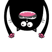 Screaming cat Head silhouette hanging upside down. Two eyes, teeth, tongue, hands. Black Funny Cute cartoon character Baby collection. Happy Halloween. Flat design White background