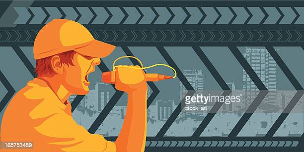 screaming man with microphone against urban scene - hip hop stock illustrations