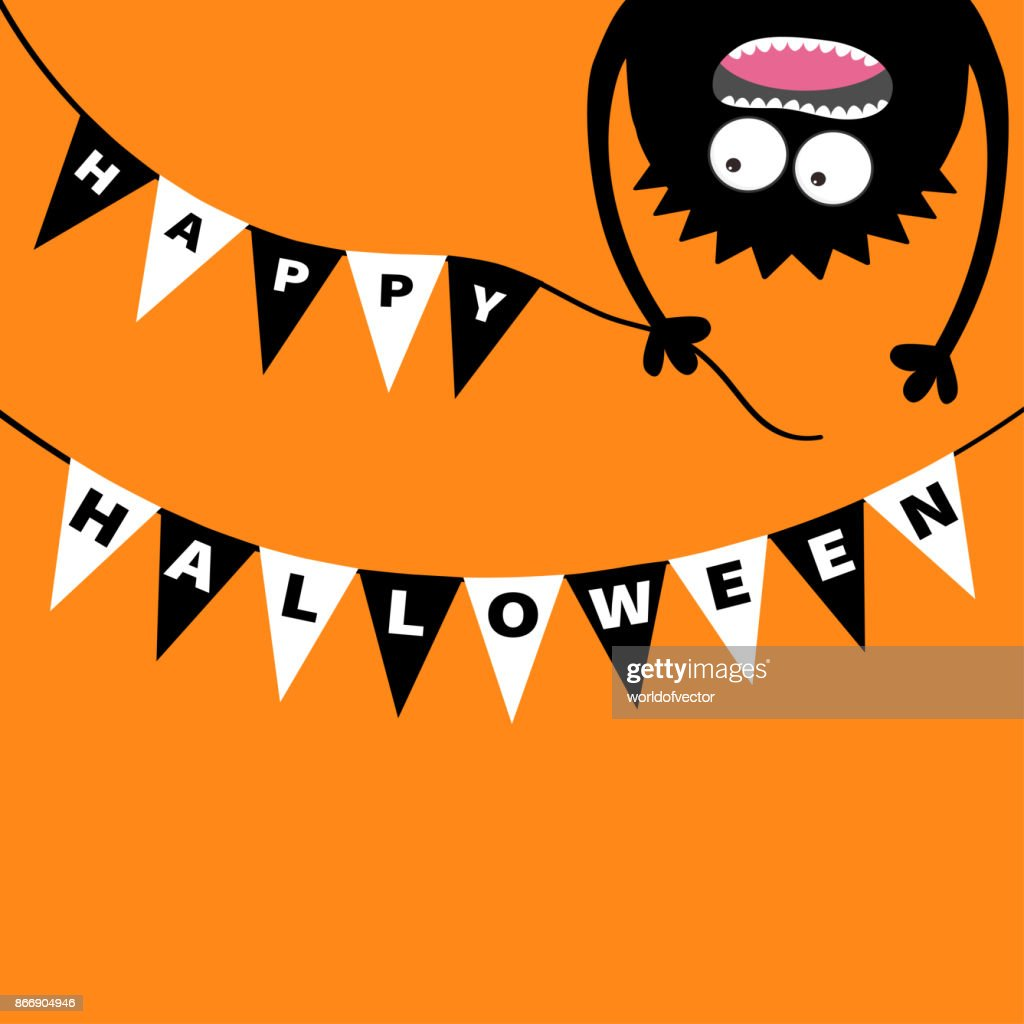 Screaming monster head silhouette. Bunting flags pack Happy Halloween letters. Flag garland. Hanging upside down. Black Funny Cute cartoon baby character. Flat design. Orange background.