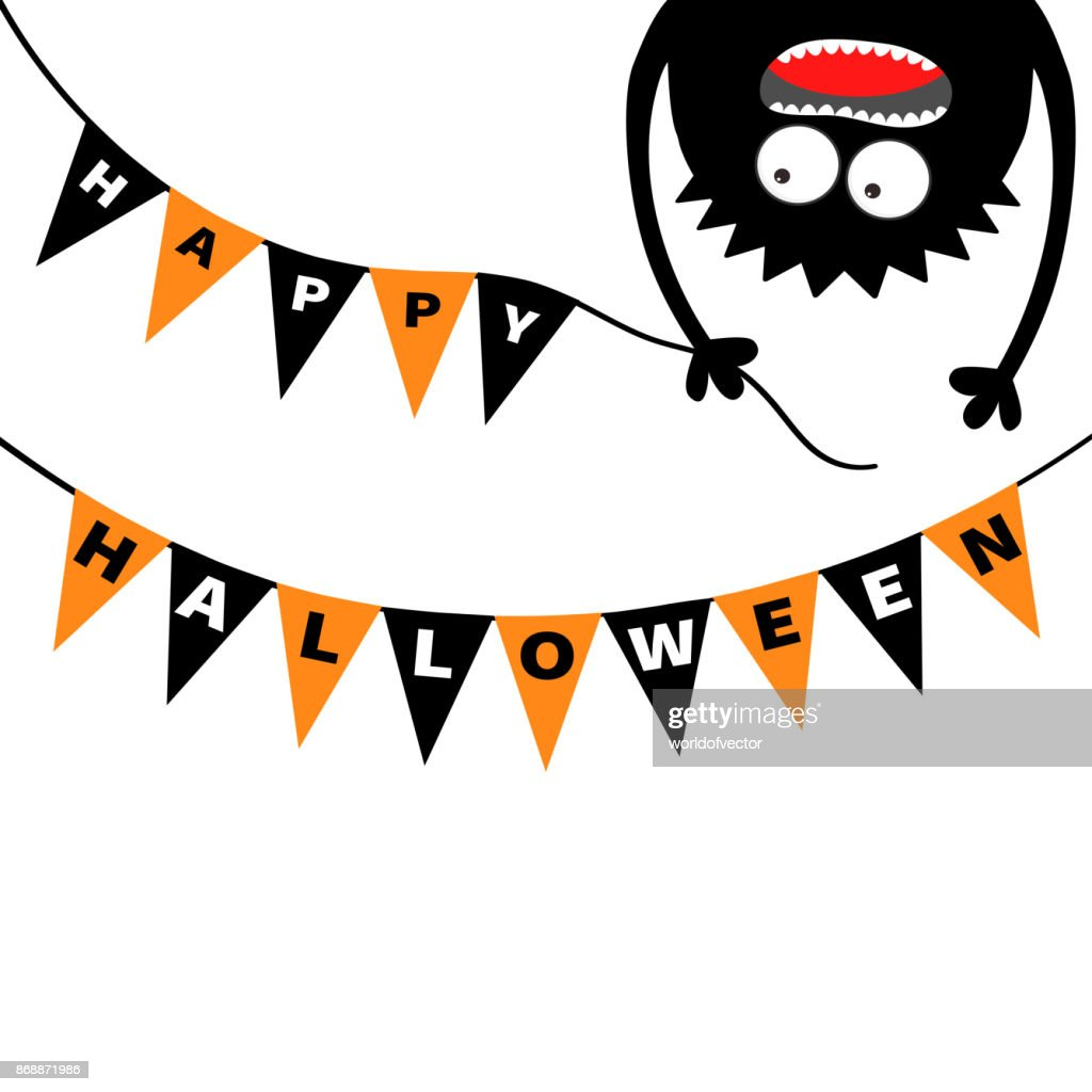 Screaming monster head silhouette. Bunting flags pack Happy Halloween letters. Flag garland. Hanging upside down. Black Funny Cute cartoon baby character. Flat design. White background.