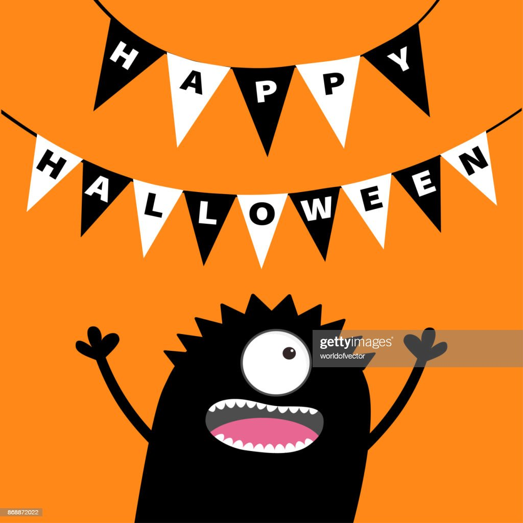 Screaming monster head silhouette. Bunting flags pack Happy Halloween letters. Hanging flag garland. Black Funny Cute cartoon baby character. Flat design. Orange background