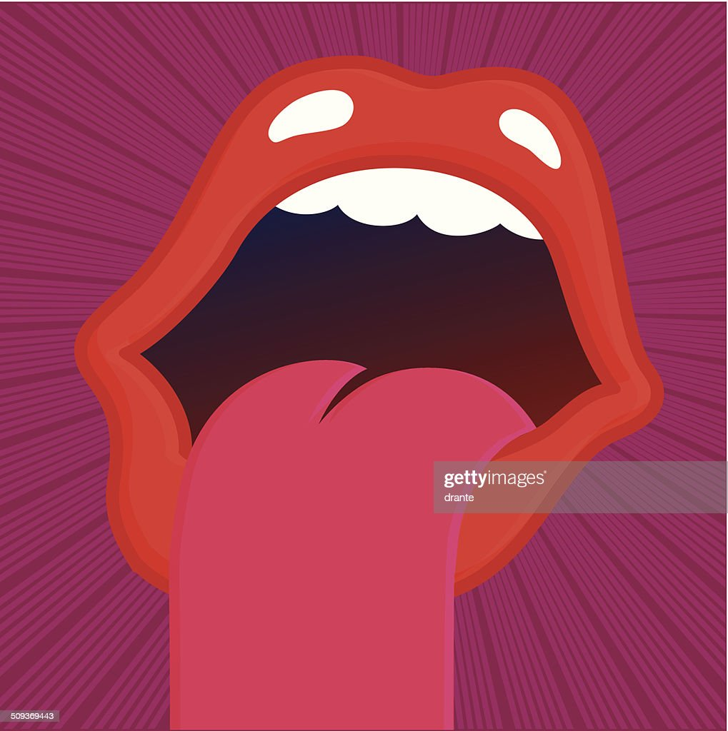 Screaming mouth sticking out tongue and shouting vector illustration