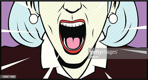screaming old lady retro style - anger stock illustrations