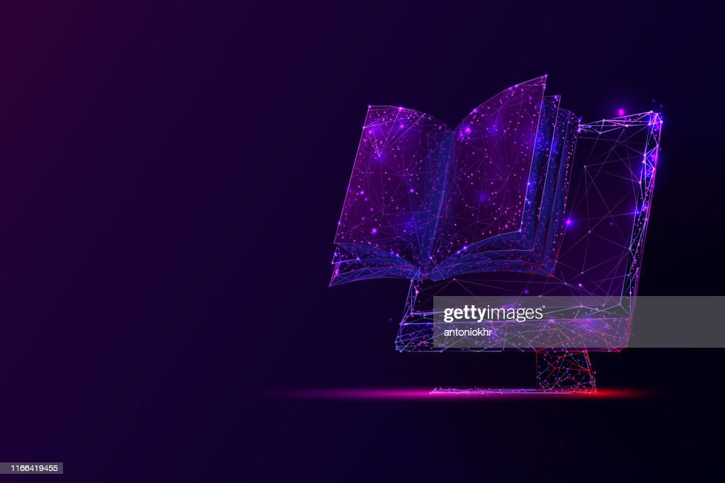 PC screen and book low poly vector illustration. : stock illustration
