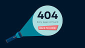 Screen error 404, page not found. Flashlight shine on text and button. Flat vector illustration