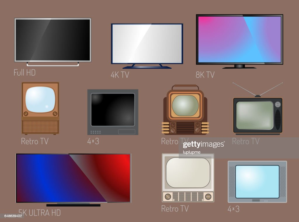 TV screen lcd monitor template electronic device technology digital size diagonal display and video modern plasma home computer vector illustration