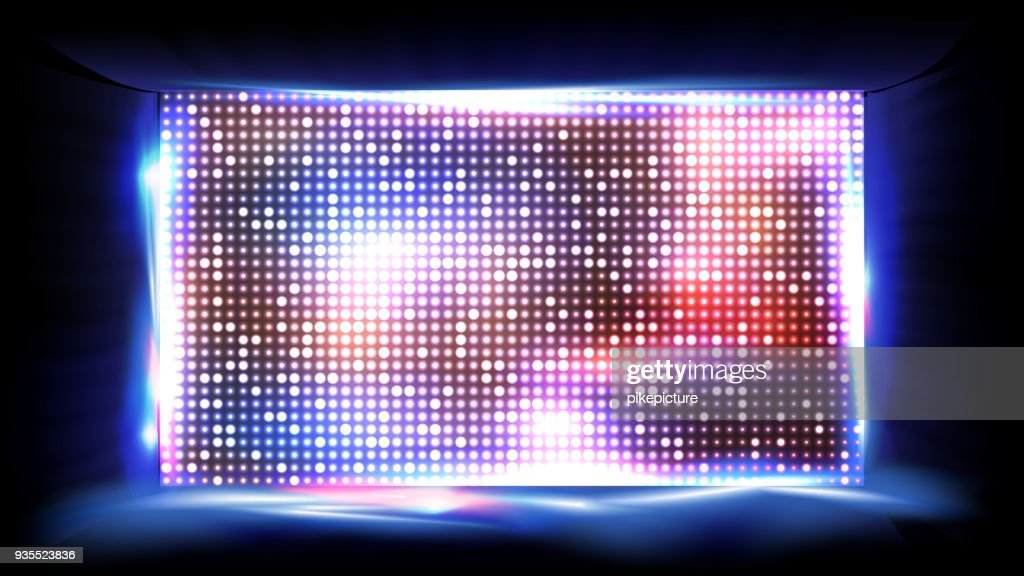 Screen LED Vector. Display, Projection. Stadium Stage. Illustration
