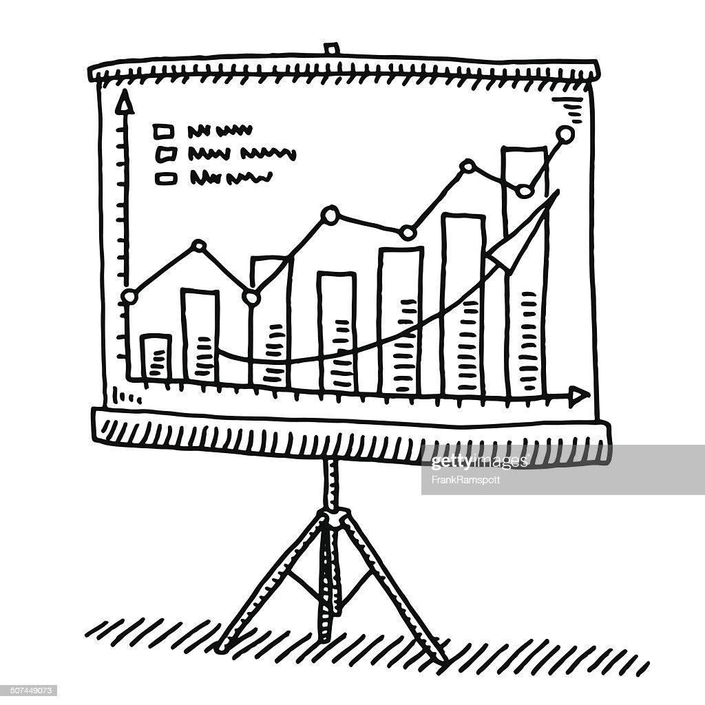 Screen Presentation Graph Success Drawing : stock illustration