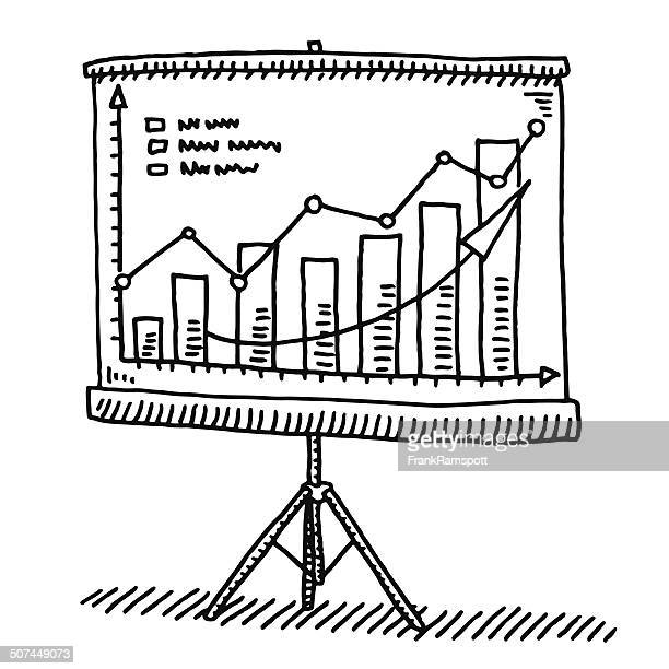 screen presentation graph success drawing - camera tripod stock illustrations, clip art, cartoons, & icons