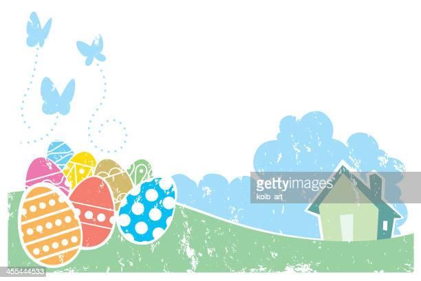 screen print effect easter scene - easter egg hunt stock illustrations, clip art, cartoons, & icons