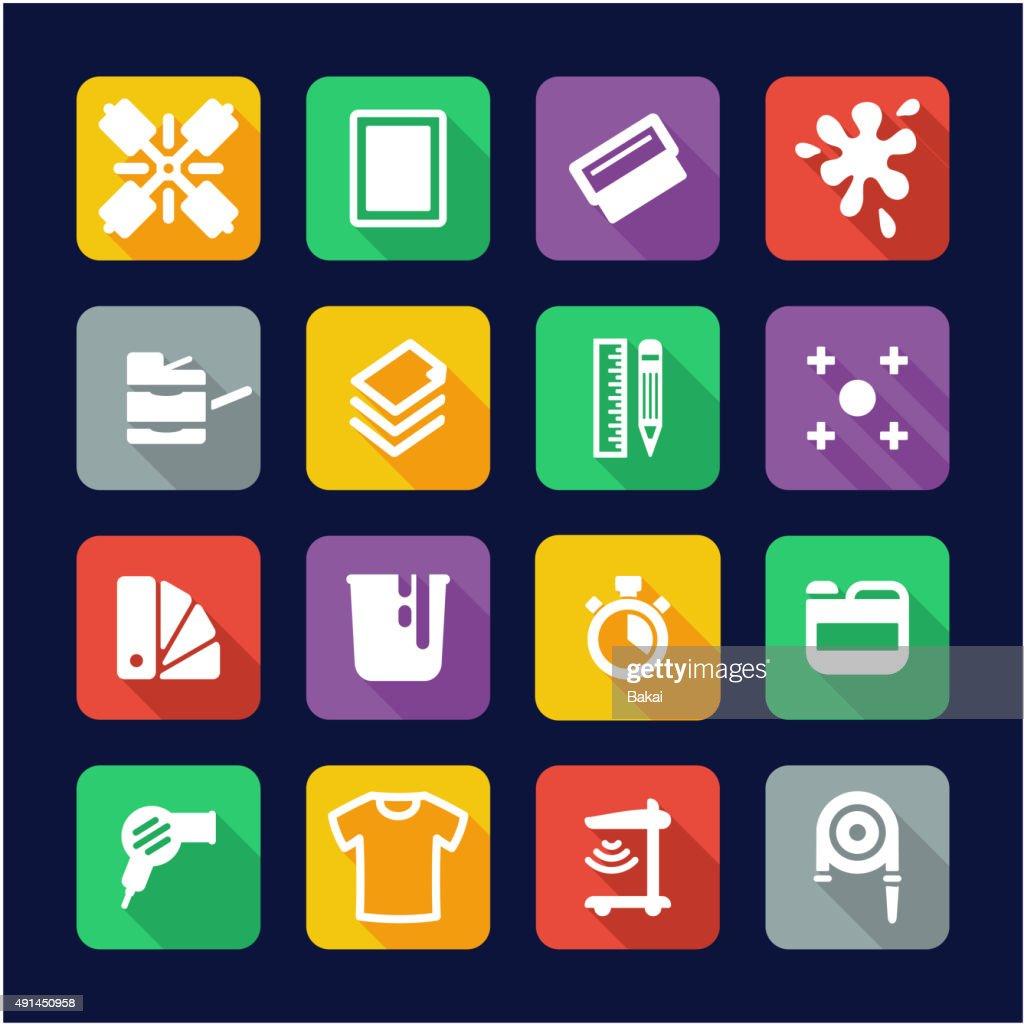 Screenprinting Icons Flat Design