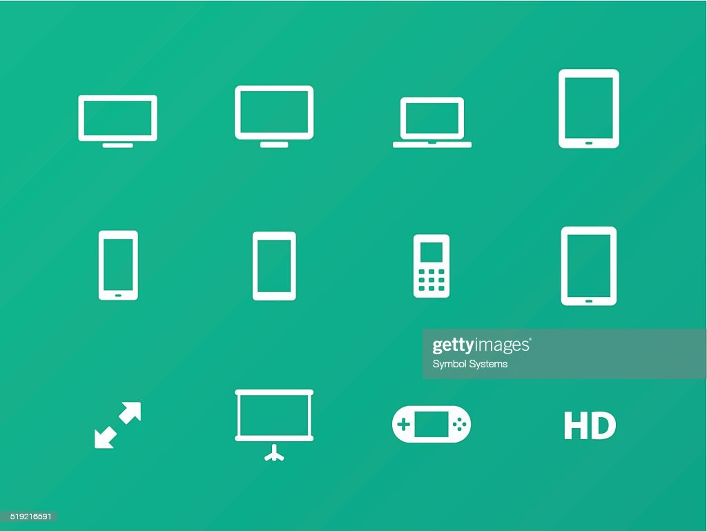 Screens icons on green background.