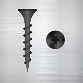 screw on a metal background.