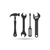 screwdriver, hammer and wrench vector icon