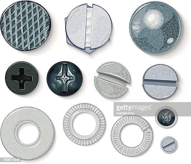 ilustrações, clipart, desenhos animados e ícones de equipamento de construção-parafusos, lavadoras e manicure cabeça - prego
