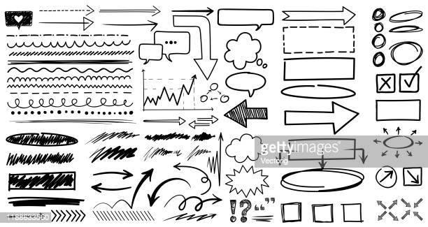 scribble brushes - pointer stick stock illustrations