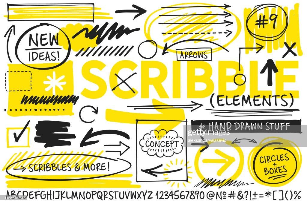 Éléments de conception scribble : Illustration