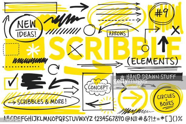 illustrazioni stock, clip art, cartoni animati e icone di tendenza di scribble design elements - testo