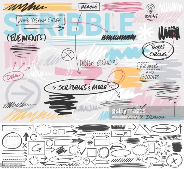 scribble design elements - design element stock illustrations