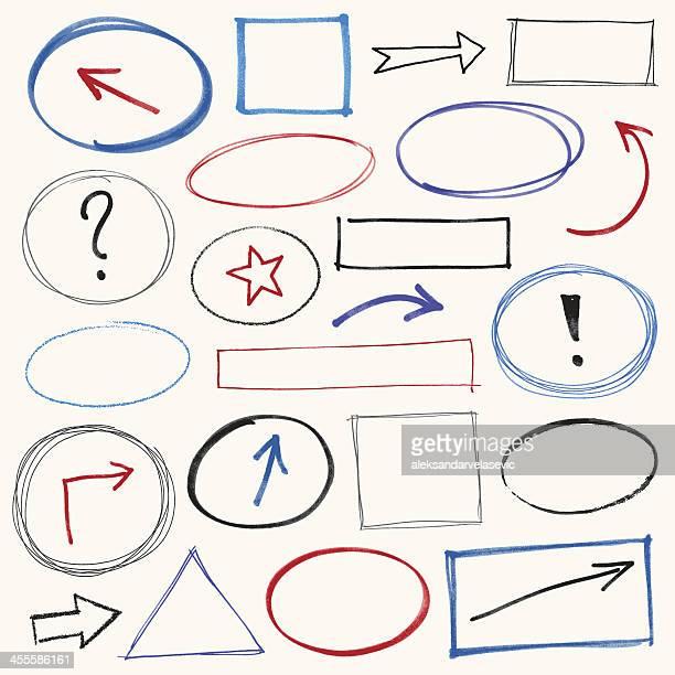 ilustrações, clipart, desenhos animados e ícones de rabiscar elementos de design - caneta