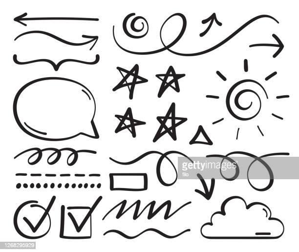 illustrazioni stock, clip art, cartoni animati e icone di tendenza di scarabocchiare elementi di progettazione di disegno e modifica di linee disegnate a mano - spirale