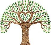 Scribble heart tree illustration