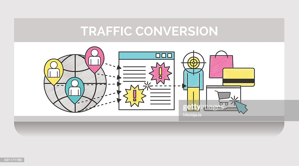 Scribble illustration for web traffic conversion
