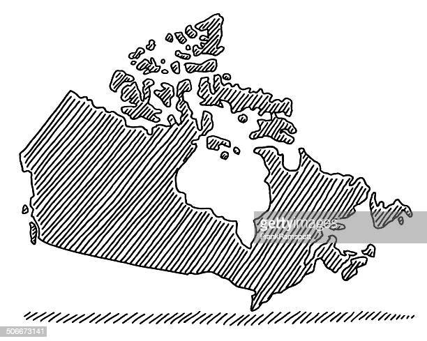scribble map canada drawing - canada stock illustrations