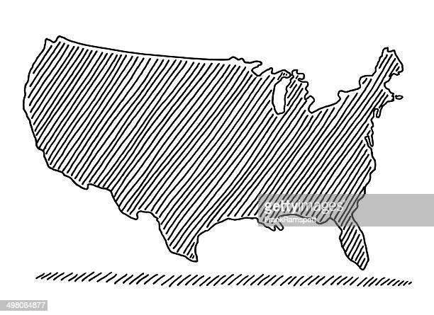 gekritzel karte usa-zeichnung - frankramspott stock-grafiken, -clipart, -cartoons und -symbole