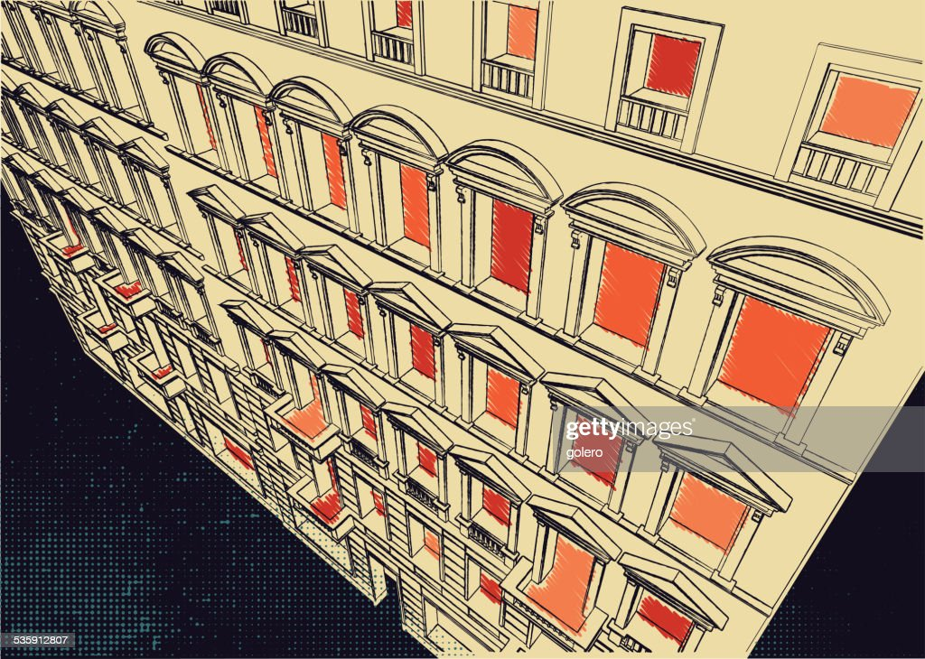 scribble of historic facade : Vector Art