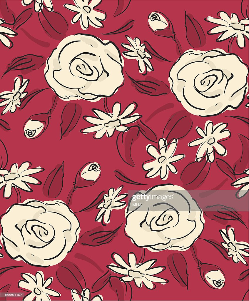 Scribble Roses Seamless pattern -Red and Beige
