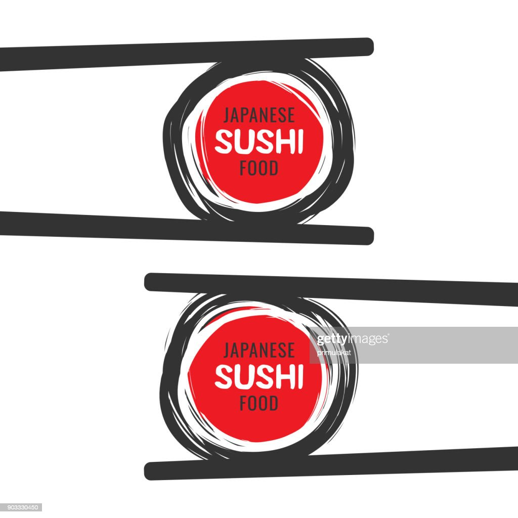 Scribble sushi vector icon with chopsticks