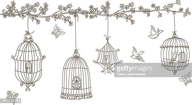 scribbled birds and birdcages hanging from cherry blossom tree branch - birdcage stock illustrations, clip art, cartoons, & icons
