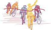 Scribbled Cyclists Cross the Finish Line