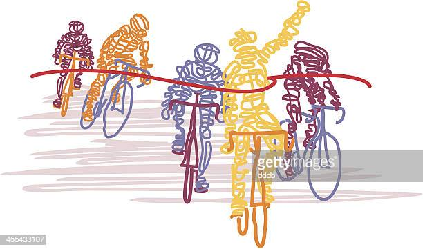 scribbled cyclists cross the finish line - yellow jersey cycling vest stock illustrations