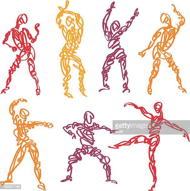 scribbled dance fitness - latin american dancing stock illustrations, clip art, cartoons, & icons