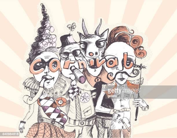 scribbled illustration of crazy carnival people